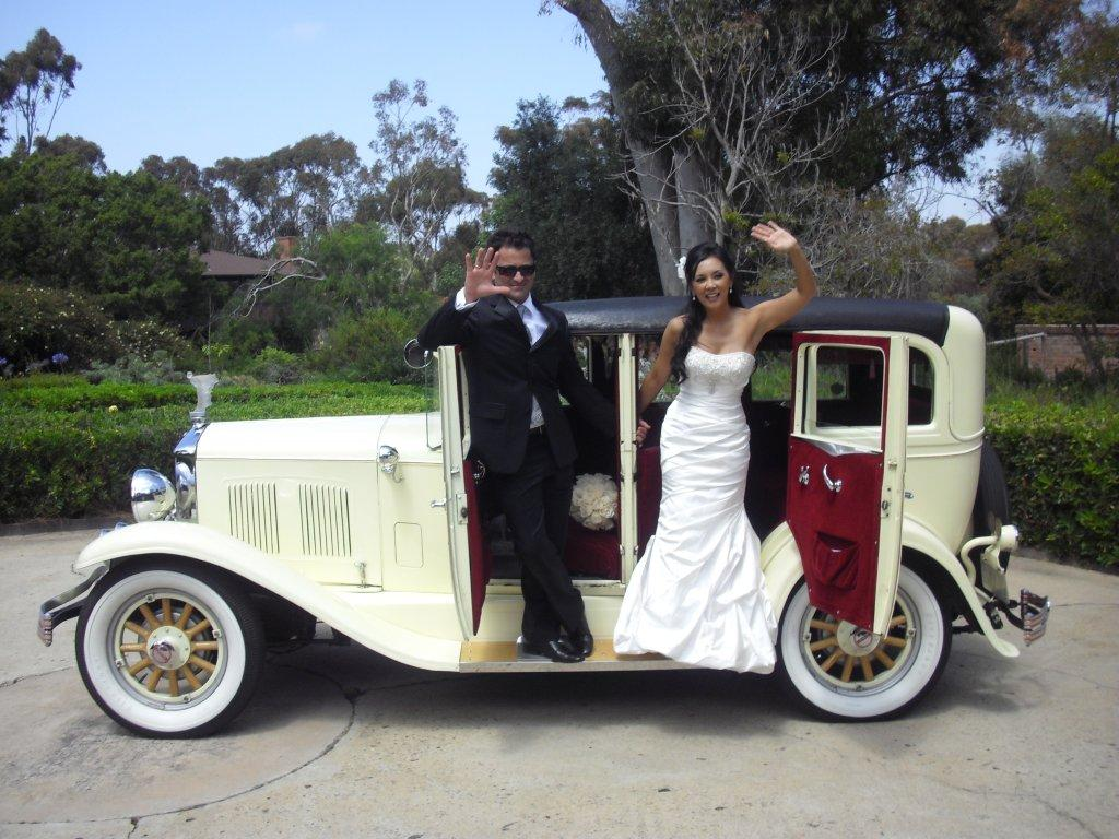 San Diego Antique Car Chauffeur Company Wedding Classic Car